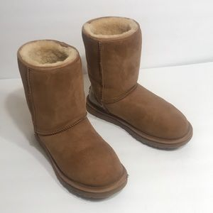 Ugg tan suede boots with gold heel detail